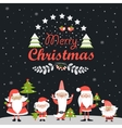 Funny Santa Clauses with Christmas tree vector image vector image
