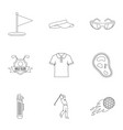 golf market icons set outline style vector image vector image