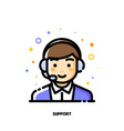 icon cute boy with headset for customer service vector image vector image