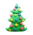 Icon of plasticine Christmas tree vector image