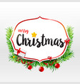 merry christmas calligraphy text on frame with vector image vector image