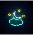 month in clouds neon sign night light vector image vector image