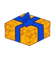 orange gift box present with blue bow and ribbon vector image vector image