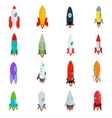 Rocket icons set in isometric 3d style vector image vector image