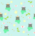 seamless pattern bear winter tea coffee scarf vector image vector image