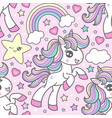 seamless pattern with cute cute unicorns vector image vector image