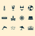 season icons set with pool sand castle swimsuits vector image