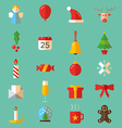 set flat christmas colorful icons vector image