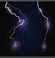 set isolated lightning effects on blue vector image vector image