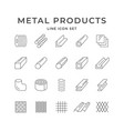 set line icons metal products vector image vector image