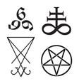 set occult symbols leviathan cross pentagram vector image