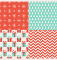 set of christmas seamless patterns 4 winter vector image