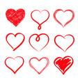 Set of hand drawn hearts design element