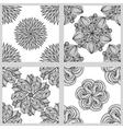 Set of Mandala Seamless Patterns Black and white vector image vector image