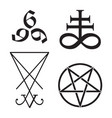 set of occult symbols leviathan cross pentagram vector image