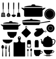 silhouettes of kitchen tools vector image vector image