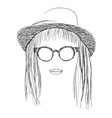 Summer Girl in hat and sunglasses vector image vector image