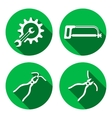 Tools icons set Saw pliers tongs cogwheel vector image vector image