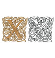 vintage initial letter x with baroque decoration vector image vector image