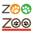 zoo with paws sign symbol icon collection vector image