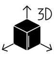 3d cube icon black sign on vector image