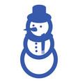 blue snowman icon vector image