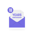 18 years anniversary icon in open envelope vector image vector image