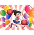 A cheerdancer in the middle of the balloons vector image vector image