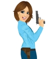 Attractive police woman holding a handgun vector image vector image
