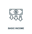basic income outline icon thin line concept vector image vector image
