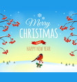 Christmas greeting card poster Bullfinch bird vector image vector image