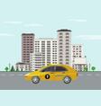 cityscape poster taxi skyscraper building vector image vector image