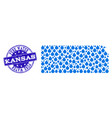 collage map of kansas state with water tears and vector image