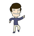 comic cartoon happy man pointing vector image vector image