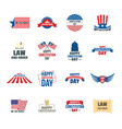 constitution day usa logo icons set flat style vector image vector image