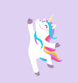 cute dancing unicorn isolated on purple vector image vector image