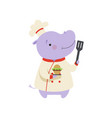 cute hippo in chef uniform holding cupcake and vector image vector image