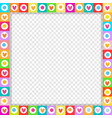 cute square love border made of hand drawn hearts vector image vector image