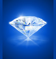diamond on blue background vector image vector image