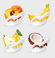 fruits in milk splash vector image