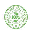 green stamp for natural organic product vector image vector image