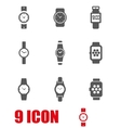grey wristwatch icon set vector image vector image