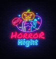 halloween neon sign horror night neon vector image vector image