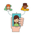 hand holding smartphone woman on screen social vector image vector image