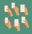 Hands Holding a White Editable Rectangle vector image