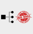 hierarchy icon and distress iso 9001 stamp vector image vector image