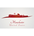 Manchester skyline in red and gray background in vector image vector image