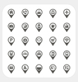 map pointer and location icons set vector image vector image