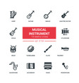 musical instruments - flat design style icons set vector image