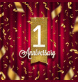 one year anniversary golden signboard vector image vector image